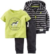 Carter's 3 Piece Striped Hoodie Set (Baby) - Black/White-12 Months