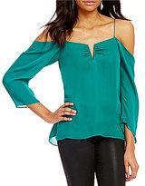 Nicole Miller Artelier Schuler Cold-Shoulder Long Sleeve Split-Square Neck Silk Blouse
