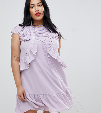 Asos Swing Tea mini dress with Lace Up & Eyelet Detail-Purple