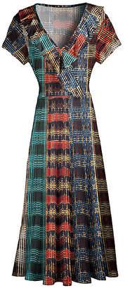 Lily Women's Maxi Dresses BRN - Brown & Blue Abstract Plaid Ruffle-Trim Surplice Maxi Dress - Women & Plus