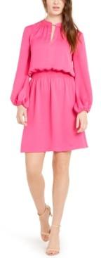 Trina Turk Kaneshon Blouson-Sleeve A-Line Dress
