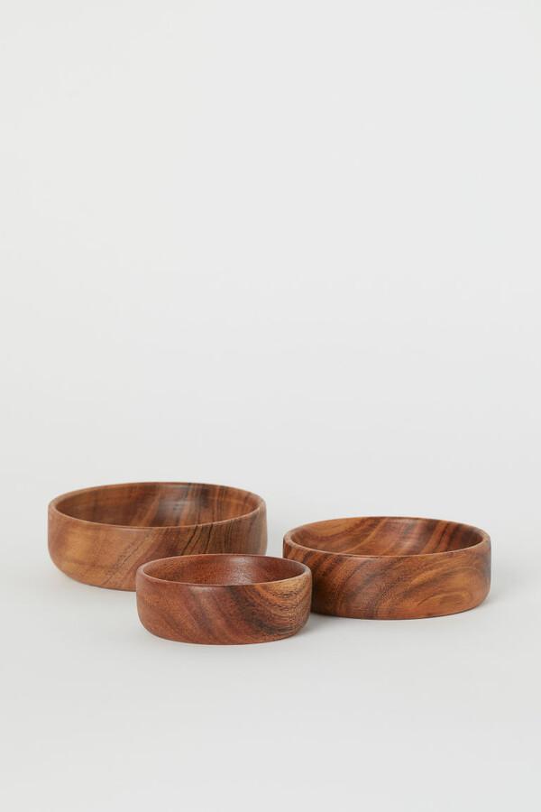H&M - 3-pack Wooden Bowls - Beige