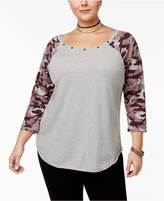 Almost Famous Trendy Plus Size Cotton Camo-Print T-Shirt