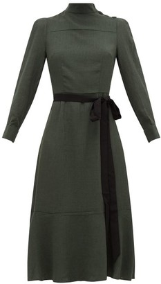 Cefinn - Waist Tie Voile Midi Dress - Womens - Khaki
