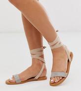 Asos Design DESIGN Wide Fit Flawless embellished tie leg sandals