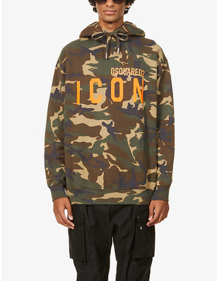 DSQUARED2 Icon camo-print branded cotton-jersey hoody