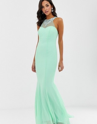 Asos City Goddess high neck embellished detail maxi dress-Green