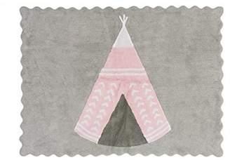 Camilla And Marc Aratextil Arizona Children's Rug, Cotton, Grey/Pink, 120 x 160 x 30 cm