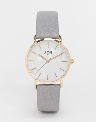 Limit faux leather watch in grey exclusive to ASOS