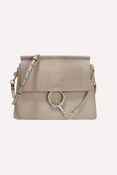 Chloé Faye Medium Leather And Suede Shoulder Bag - Gray