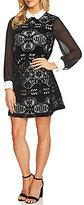 CeCe Chiffon Sleeve Velvet Lace Collared Dress