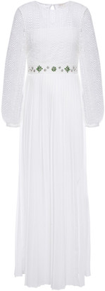 Maje Guipure Lace-paneled Crystal-embellished Crepe Maxi Dress