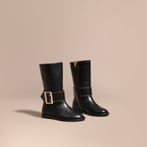 Burberry Buckle Detail Leather Riding Boots