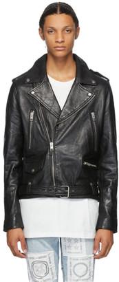 Ksubi Black Leather Loathing Biker Jacket