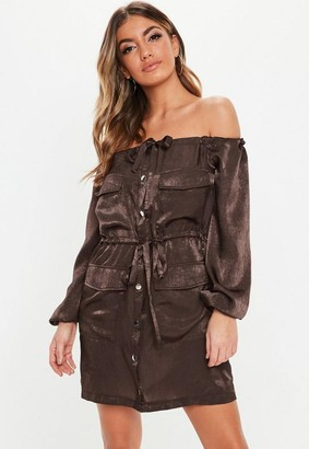 Missguided Chocolate Satin Bardot Oversized Utility Dress