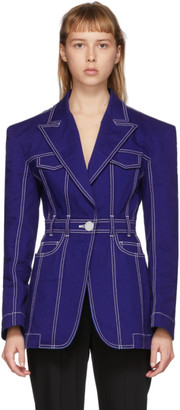 Balmain Blue Denim Single-Button Oversized Jacket