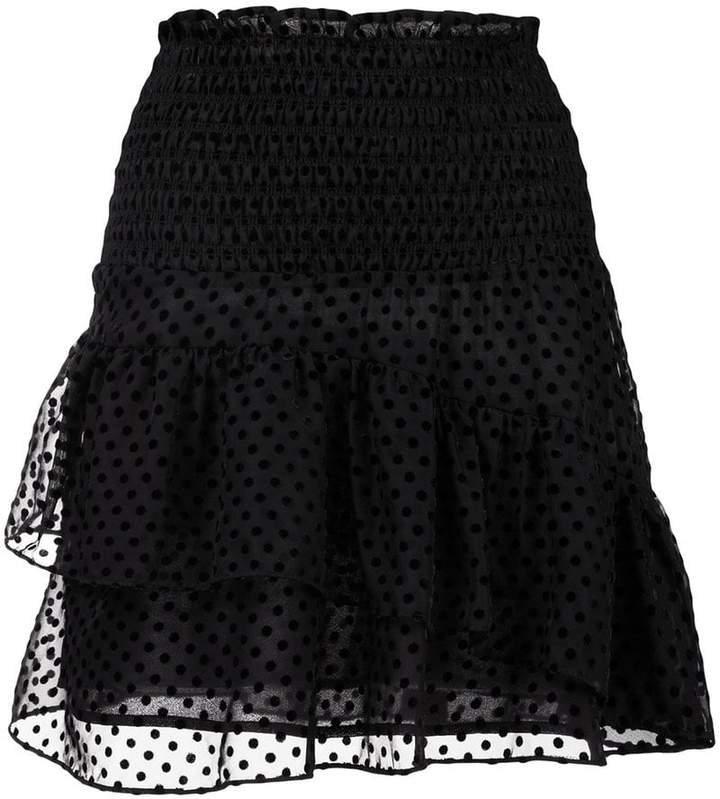 Ganni sheer polka dot ruffled skirt