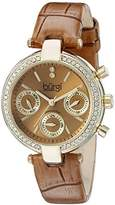 Burgi Women's BUR129TN Diamond & Crystal Accented Multifunction Yellow Gold and Light Brown Leather Strap Watch