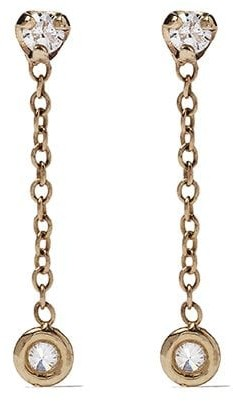 Zoë Chicco 14kt Yellow Gold Drop Diamond Chain Earrings