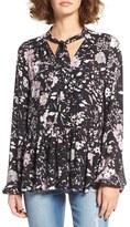 BP Women's Floral Print Tie Neck Blouse