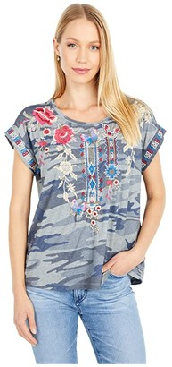 Johnny Was Florence Relaxed Tee (Indigo Camo) Women's Clothing