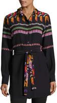 Etro Suzani-Print Belted Silk Tunic Blouse, Black