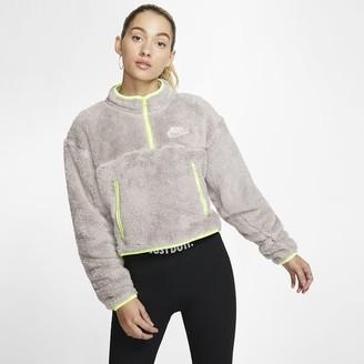 Nike Womens 1/4-Zip Sherpa Fleece Crop Top Sportswear