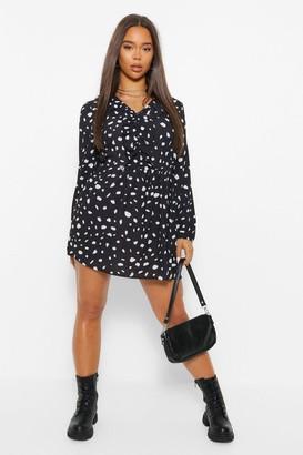 boohoo Polka Dot Ruffle Detail Smock Dress