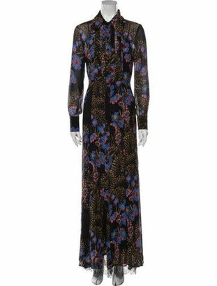 Etro Floral Print Long Dress Black