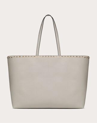 Valentino Large Grain Calfskin Leather Rockstud Shopping Bag Women Opal Grey OneSize