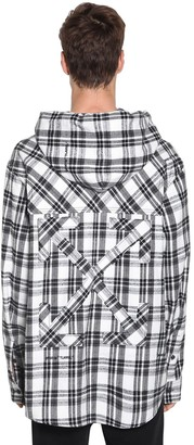 Off-White Over Hooded Check Cotton Blend Shirt