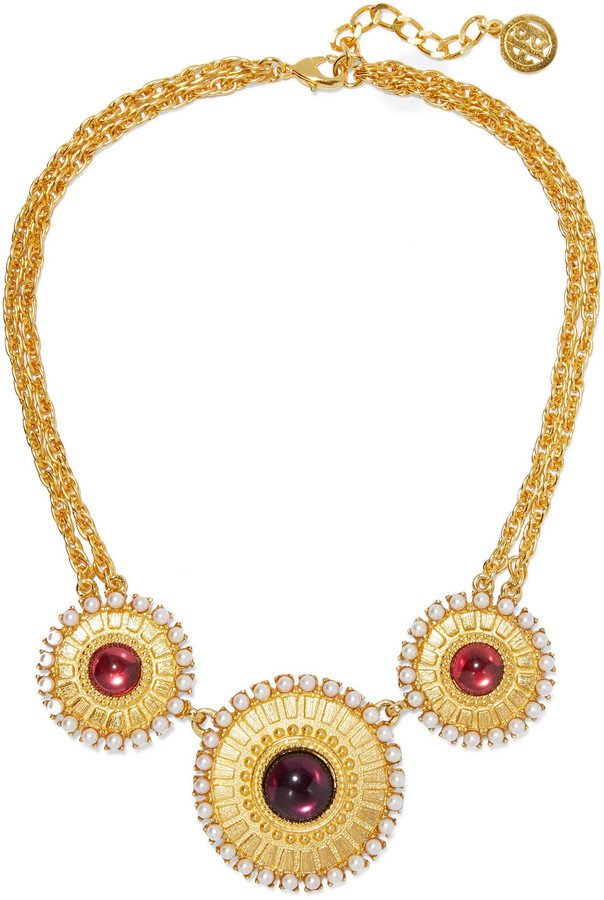 Ben-Amun 24-karat Gold-plated, Stone And Faux Pearl Necklace