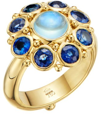 Temple St. Clair Stella 18K Yellow Gold, Blue Sapphire & Blue Moonstone Ring