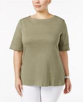 Karen Scott Plus Size Cuffed T-Shirt, Only at Macy's