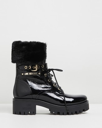 Love Moschino Patent Leather Ankle Boots