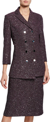 St. John Sequin Tweed Knit Double-Breasted Jacket