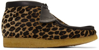Clarks Beige and Black Pony Hair Leopard Wallabee Boots