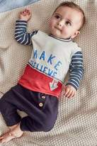 Next Boys Navy/White Top And Trousers Two Piece Set (0mths-2yrs) - Blue