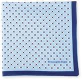 Ermenegildo Zegna Geometric Cross Silk Pocket Square, Blue
