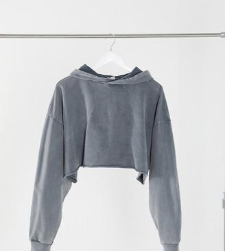 ASOS DESIGN Petite cropped hoodie in washed grey