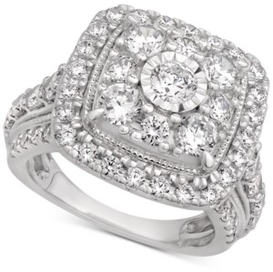 Macy's Certified Cluster Halo Engagement Ring (3 ct. t.w.) in 14k White Gold