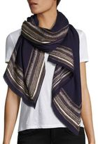 Janavi Gold Border Cashmere & Merino Wool Wrap
