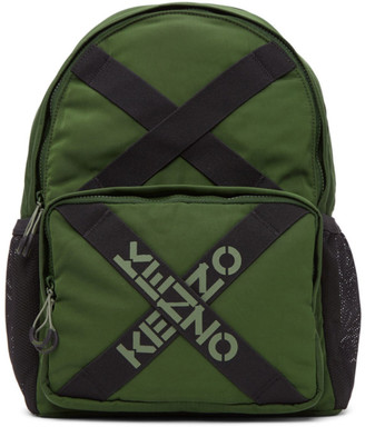Kenzo Green Taped Sport Logo Backpack
