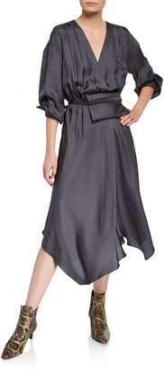 Brunello Cucinelli Fluid-Silk Dress with Belt Bag