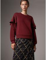 Burberry Ruffle Detail Cotton Jersey Sweatshirt , Size: XL, Purple