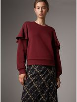 Burberry Ruffle Detail Cotton Jersey Sweatshirt