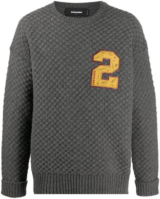 DSQUARED2 Logo-Patch Chunky-Knit Jumper