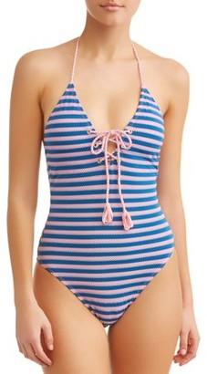 No Boundaries Juniors Pique Stripe One Piece Swimsuit
