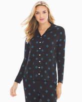 Soma Intimates Cool Nights Long Sleeve Notch Collar Pajama Top Grand Geo Black