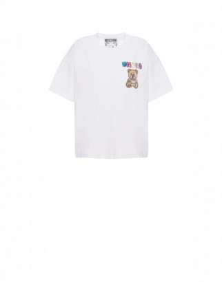 Moschino Jersey T-shirt Teddy Embroidery Woman White Size 36 It - (2 Us)